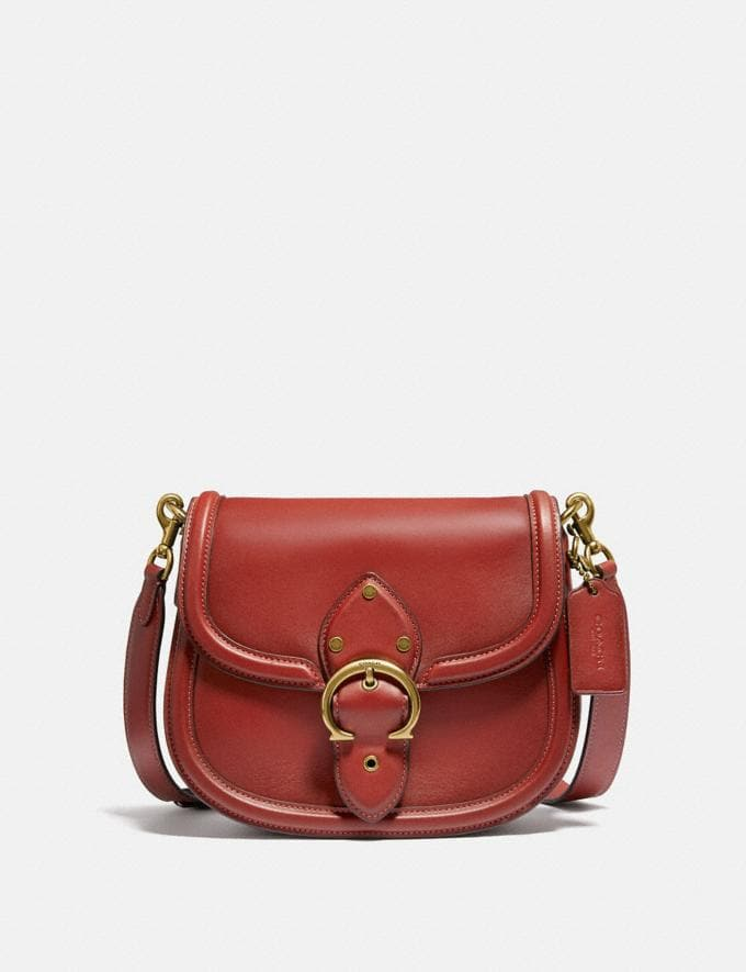 Coach Beat Saddle Bag Brass/Red Sand New Women's New Arrivals Bags