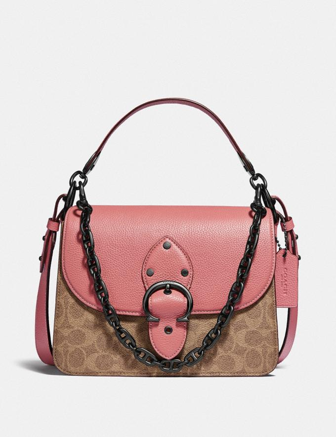 Coach Beat Shoulder Bag in Signature Canvas With Horse and Carriage Print V5/Tan Truffle Vintage Pink