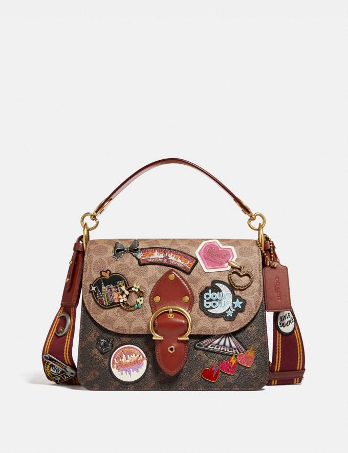 Coach Beat Shoulder Bag in Signature Canvas With Souvenir Patches Brass/Tan Truffle Rust New Women's New Arrivals Bags
