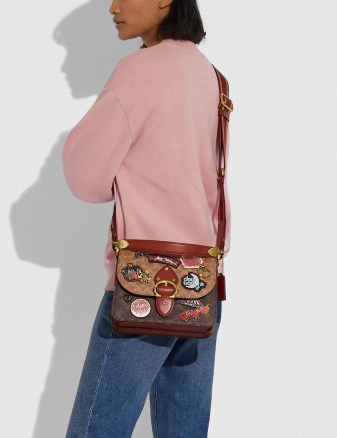 Coach Beat Shoulder Bag in Signature Canvas With Souvenir Patches Brass/Tan Truffle Rust New Women's New Arrivals Bags Alternate View 3