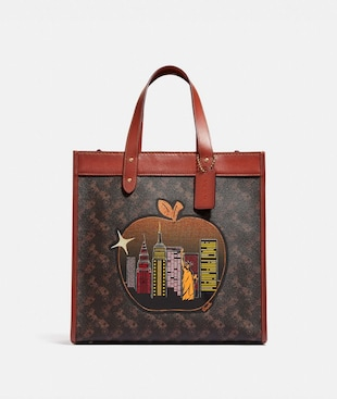 FIELD TOTE MIT CHARAKTERISTISCHEM CANVAS UND BIG-APPLE-SKYLINE