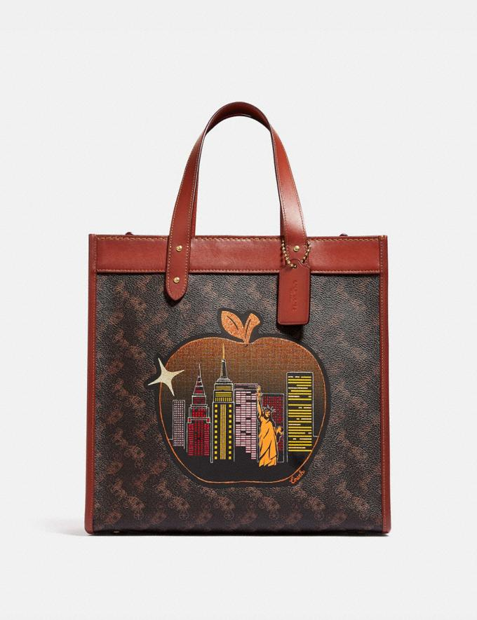 Coach Field Tote in Signature Canvas With Big Apple Skyline Brass/Tan Truffle Rust Women Bags Totes