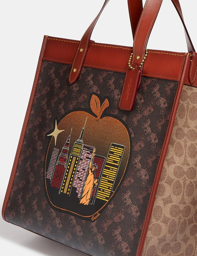 Coach Field Tote in Signature Canvas With Big Apple Skyline Brass/Tan Truffle Rust Women Bags Totes Alternate View 4
