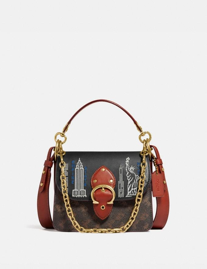 Coach Beat Shoulder Bag 18 in Signature Canvas With Stardust City Skyline Embroidery Brass/Tan Truffle Rust New Women's New Arrivals Bags