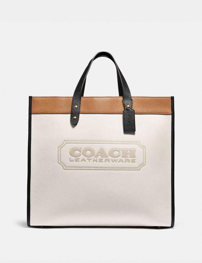 Coach Field Tote 40 in Colorblock With Coach Badge Brass/Chalk Multi New Women's New Arrivals Bags