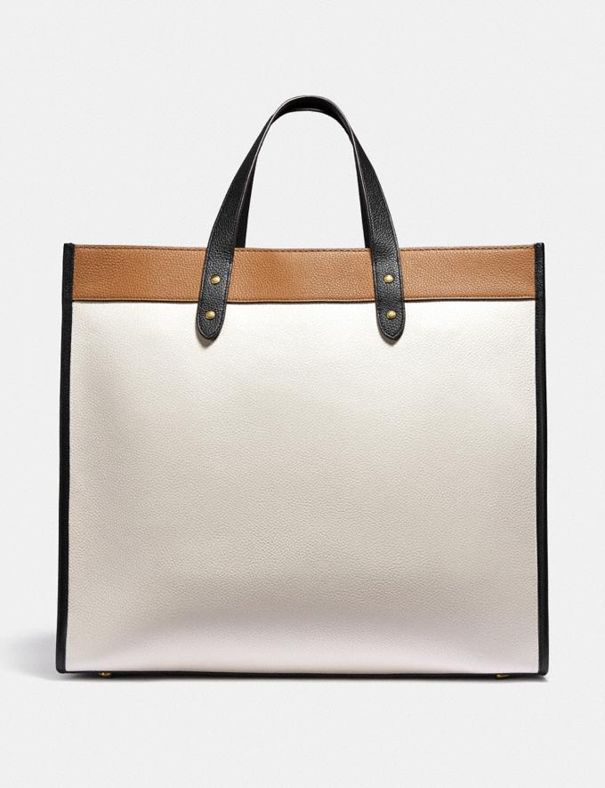 Coach Field Tote 40 in Colorblock With Coach Badge Brass/Chalk Multi New Women's New Arrivals Bags Alternate View 2