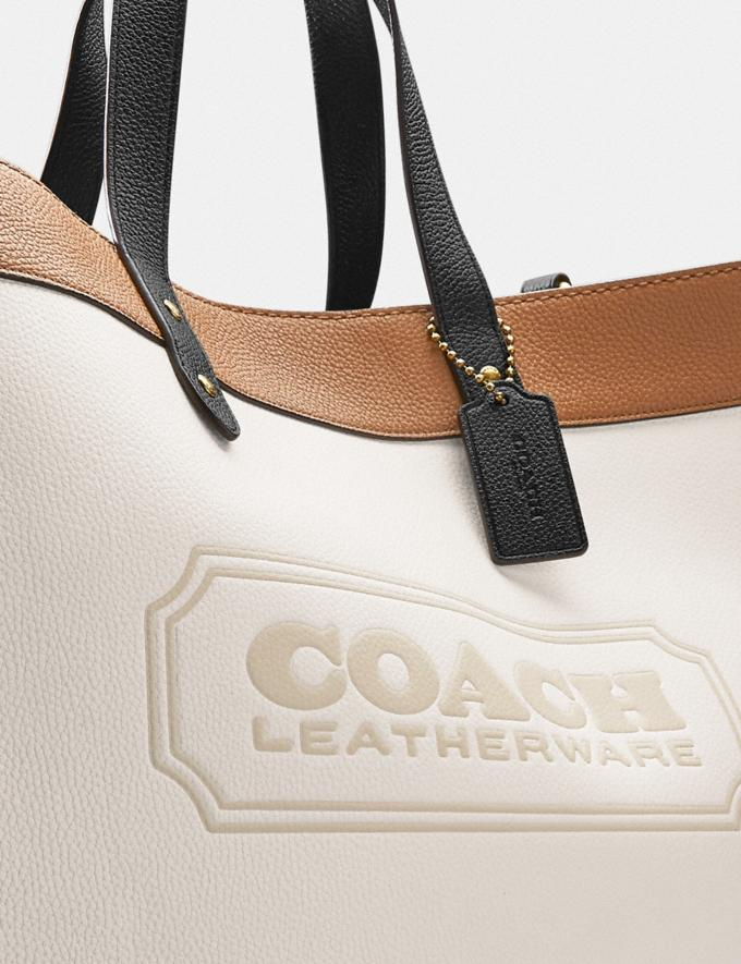 Coach Field Tote 40 in Colorblock With Coach Badge Brass/Chalk Multi New Women's New Arrivals Bags Alternate View 5