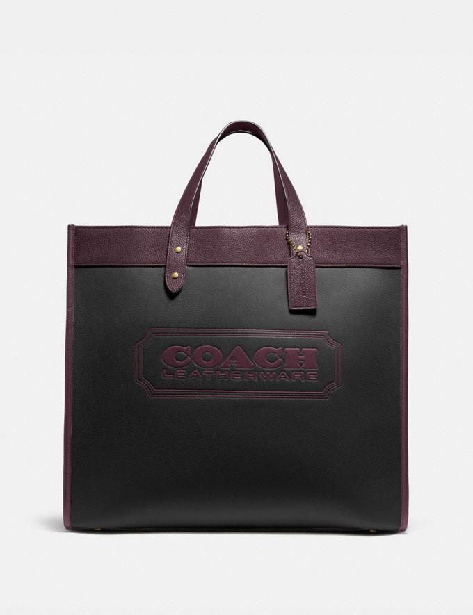 Coach Field Tote 40 in Colorblock With Coach Badge B4/Black Oxblood Multi New Women's New Arrivals Bags