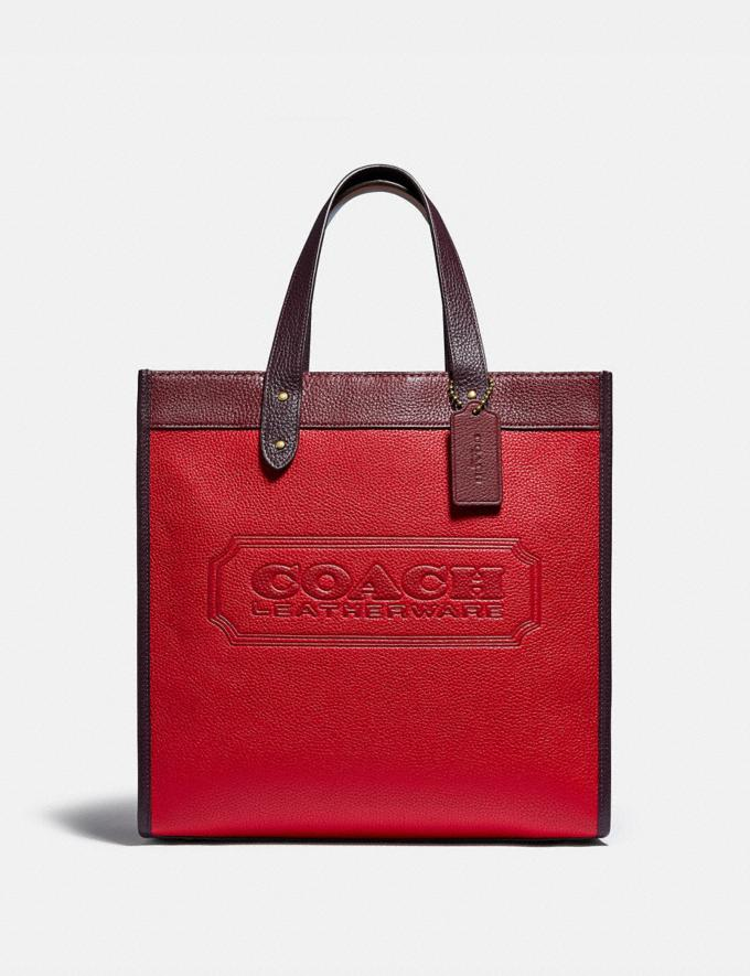 Coach Field Tote in Colorblock With Coach Badge Brass/Electric Red Multi New Women's New Arrivals Bags