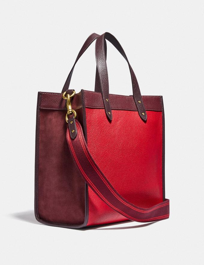 Coach Field Tote in Colorblock With Coach Badge Brass/Electric Red Multi New Women's New Arrivals Bags Alternate View 1