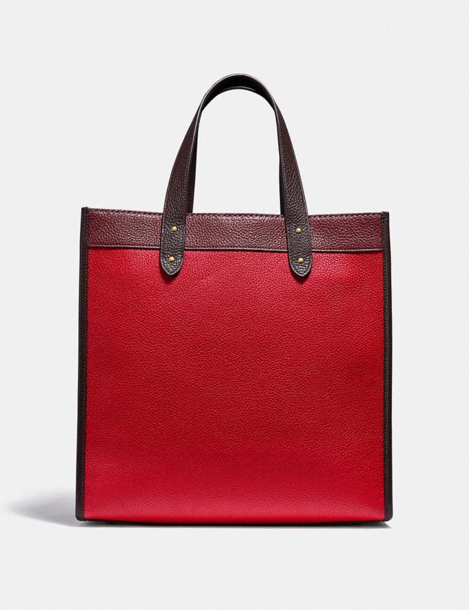 Coach Field Tote in Colorblock With Coach Badge Brass/Electric Red Multi New Women's New Arrivals Bags Alternate View 2