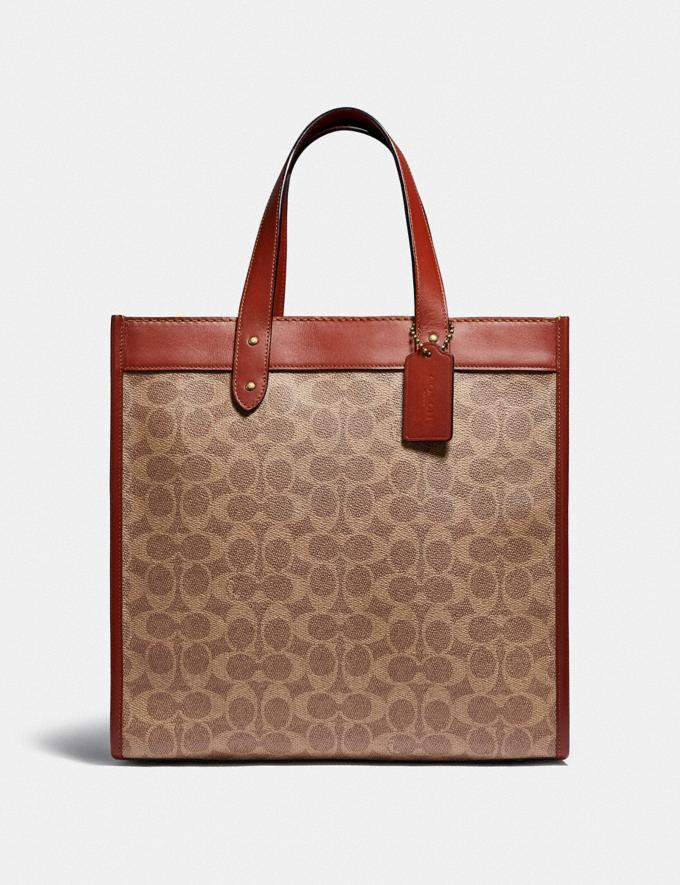 Coach Field Tote in Signature Canvas With Horse and Carriage Print B4/Tan Brown Rust New Women's New Arrivals Bags