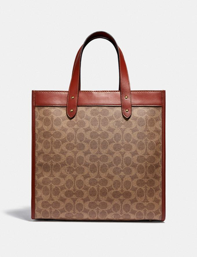 Coach Field Tote in Signature Canvas With Horse and Carriage Print B4/Tan Brown Rust New Women's New Arrivals Bags Alternate View 2