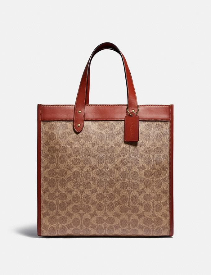Coach Field Tote in Signature Canvas With Horse and Carriage Print Brass/Tan Truffle Rust Women Bags Totes