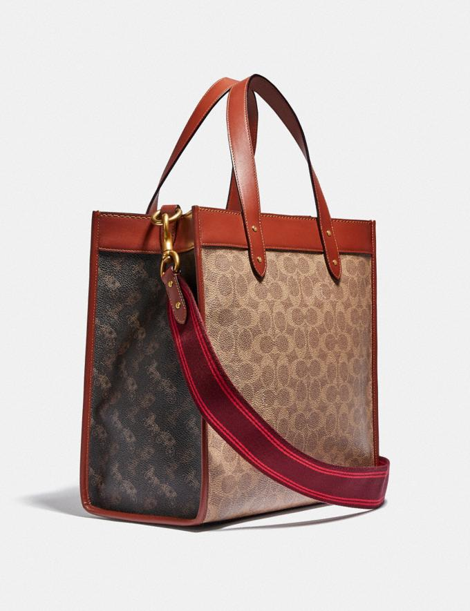 Coach Field Tote in Signature Canvas With Horse and Carriage Print Brass/Tan Truffle Rust Women Bags Totes Alternate View 1