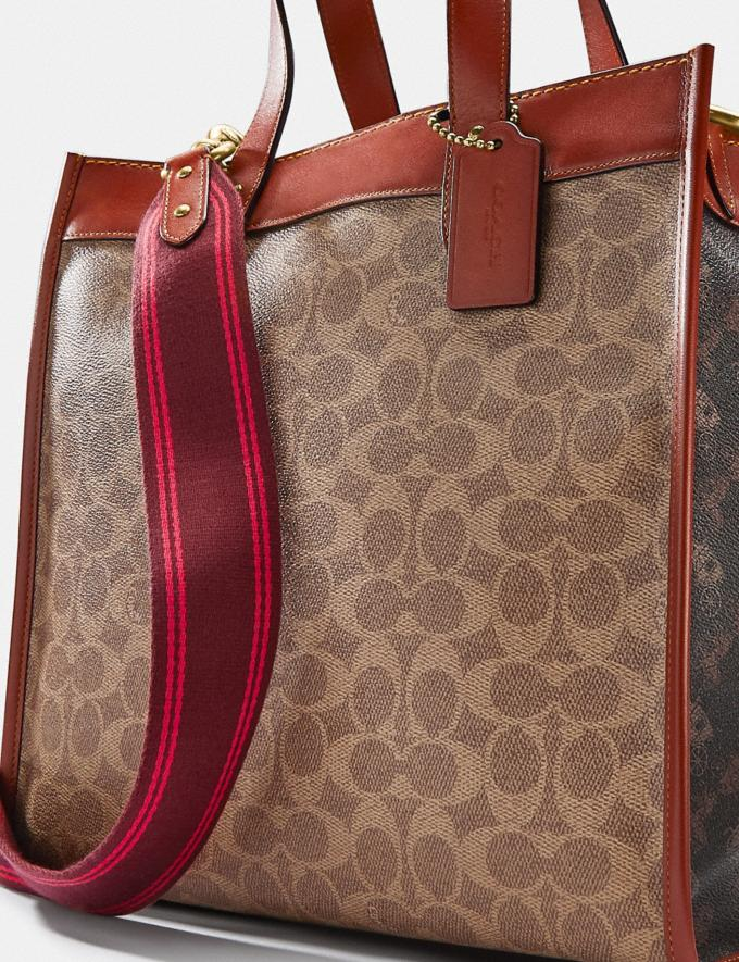 Coach Field Tote in Signature Canvas With Horse and Carriage Print Brass/Tan Truffle Rust Women Bags Totes Alternate View 4
