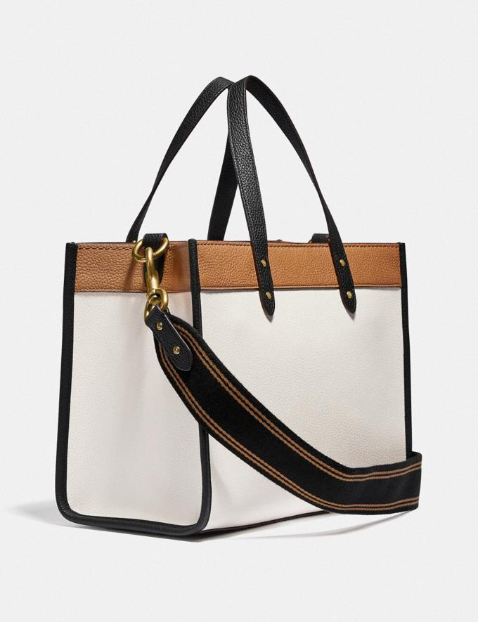 Coach Field Tote 30 in Colorblock With Coach Badge Brass/Chalk Multi New Women's New Arrivals Bags Alternate View 1