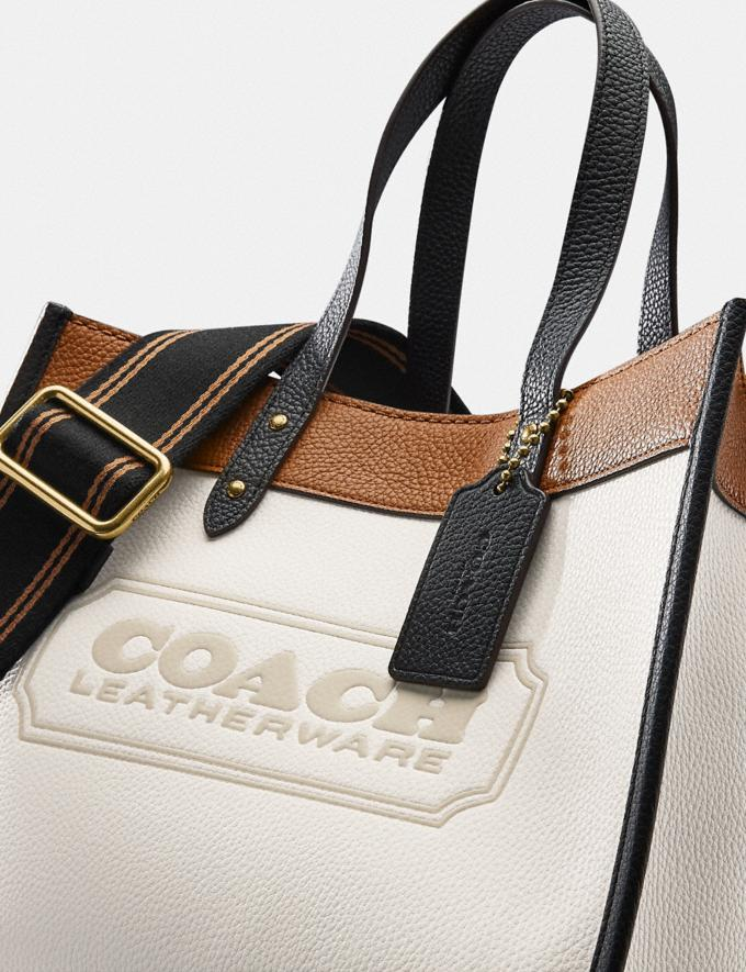 Coach Field Tote 30 in Colorblock With Coach Badge Brass/Chalk Multi New Women's New Arrivals Bags Alternate View 6