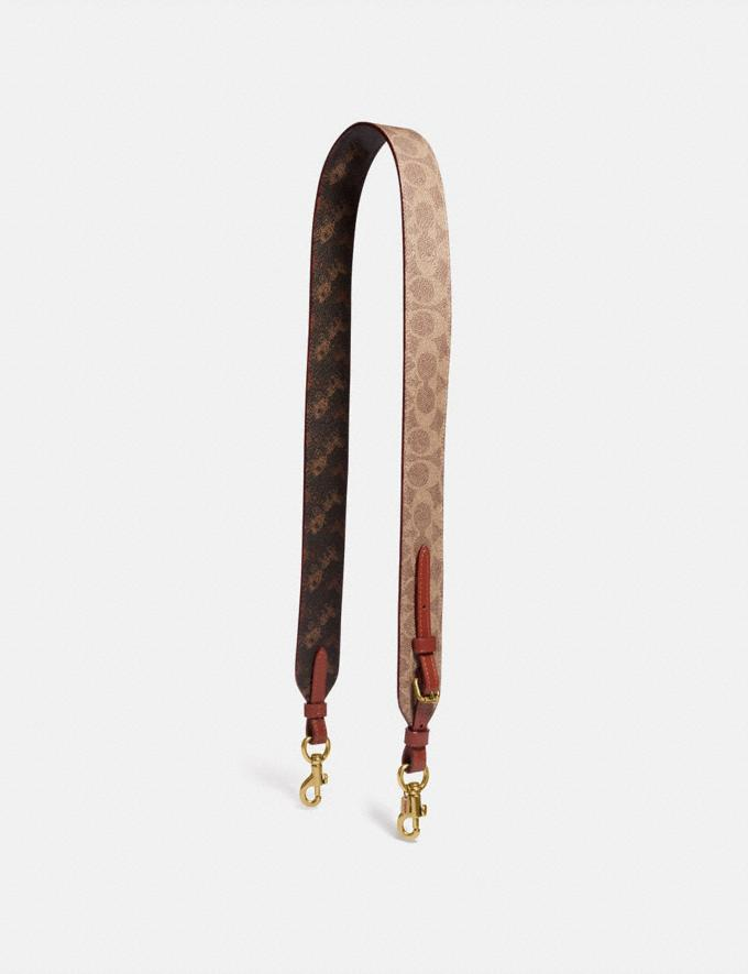 Coach Strap in Signature Canvas With Horse and Carriage Print B4/Tan Truffle Rust Women Accessories Bag Straps