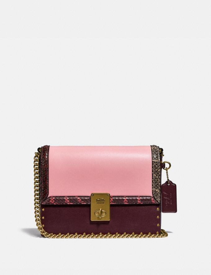 Coach Coach X Jennifer Lopez Hutton Shoulder Bag in Colorblock With Snakeskin Detail Brass/Peony Oxblood Multi Women Bags Shoulder Bags