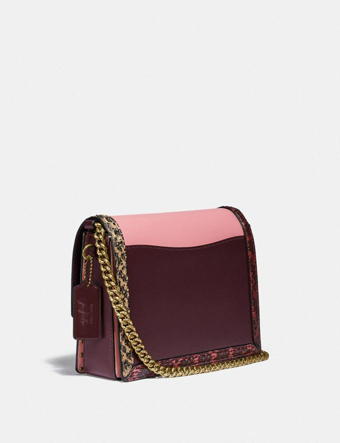 Coach Coach X Jennifer Lopez Hutton Shoulder Bag in Colorblock With Snakeskin Detail Brass/Peony Oxblood Multi Women Bags Shoulder Bags Alternate View 1