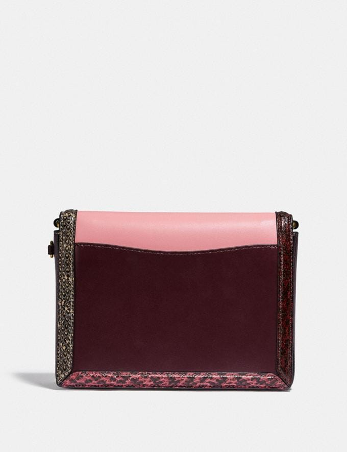 Coach Coach X Jennifer Lopez Hutton Shoulder Bag in Colorblock With Snakeskin Detail Brass/Peony Oxblood Multi Women Bags Shoulder Bags Alternate View 2