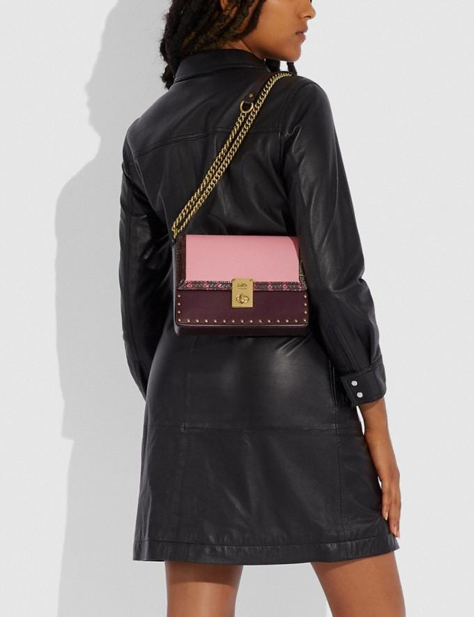 Coach Coach X Jennifer Lopez Hutton Shoulder Bag in Colorblock With Snakeskin Detail Brass/Peony Oxblood Multi Women Bags Shoulder Bags Alternate View 5