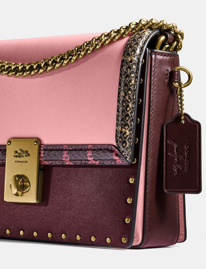 Coach Coach X Jennifer Lopez Hutton Shoulder Bag in Colorblock With Snakeskin Detail Brass/Peony Oxblood Multi Women Bags Shoulder Bags Alternate View 7