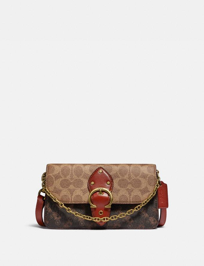 Coach Beat Crossbody Clutch in Signature Canvas With Horse and Carriage Print B4/Tan Truffle Rust Gifts For Her Under £500