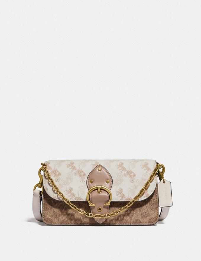 Coach Beat Crossbody Clutch in Signature Canvas With Horse and Carriage Print Brass/Chalk Tan Taupe Women Bags Clutches