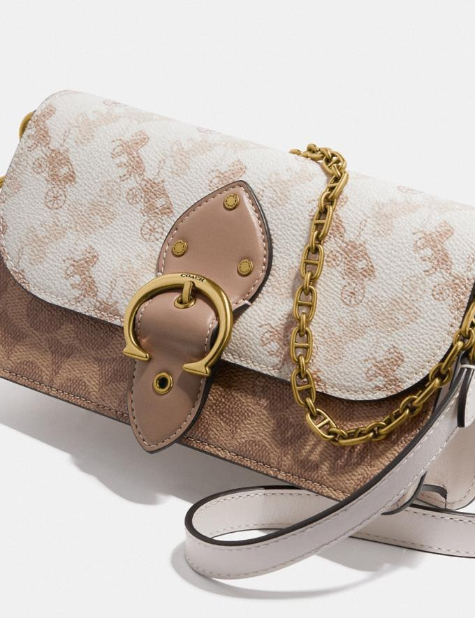Coach Beat Crossbody Clutch in Signature Canvas With Horse and Carriage Print Brass/Chalk Tan Taupe Women Bags Clutches Alternate View 4
