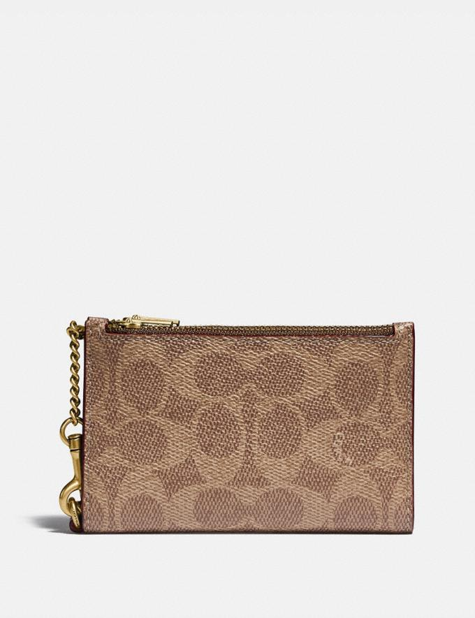 Coach Zip Chain Card Case in Signature Canvas Brass/Tan Rust Gift For Her Under €100