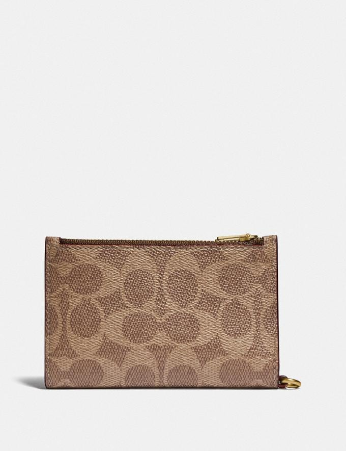 Coach Zip Chain Card Case in Signature Canvas Brass/Tan Rust Gift For Her Under €100 Alternate View 1