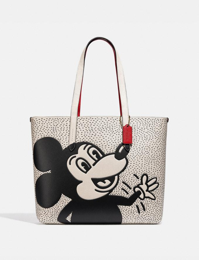 Coach Disney Mickey Mouse X Keith Haring Highline Tote B4/Chalk Women Bags Totes