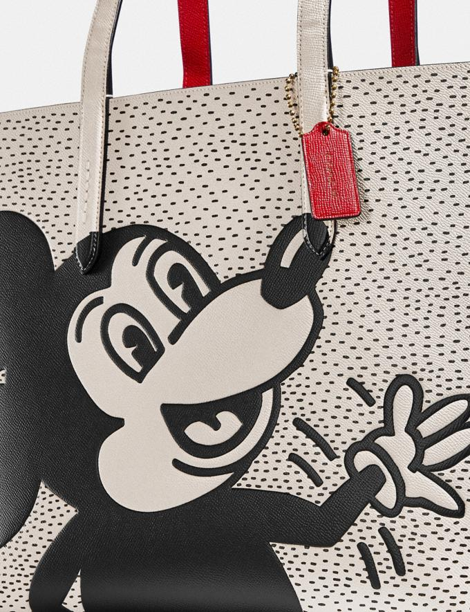 Coach Disney Mickey Mouse X Keith Haring Highline Tote Brass/Chalk New Featured Disney x Keith Haring Alternate View 4