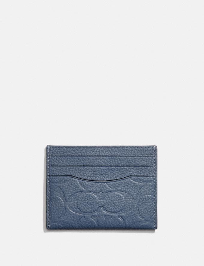 Coach Card Case in Signature Leather Blue Quartz New Men's New Arrivals Wallets