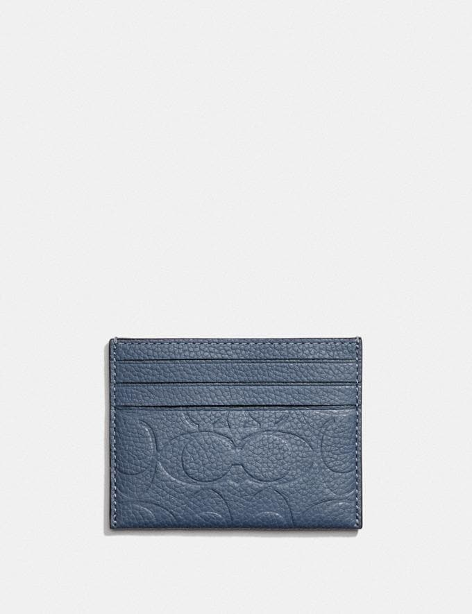 Coach Card Case in Signature Leather Blue Quartz New Men's New Arrivals Wallets Alternate View 1