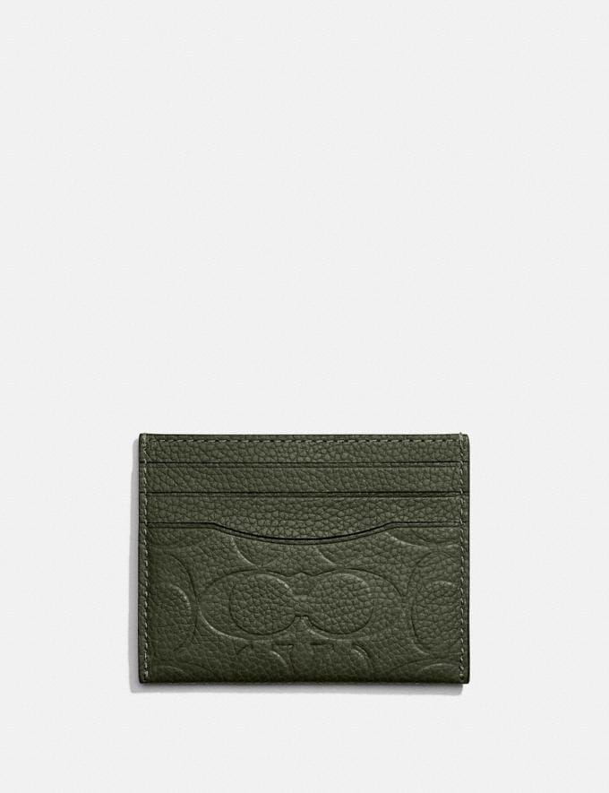Coach Card Case in Signature Leather Dark Shamrock New Men's New Arrivals Wallets