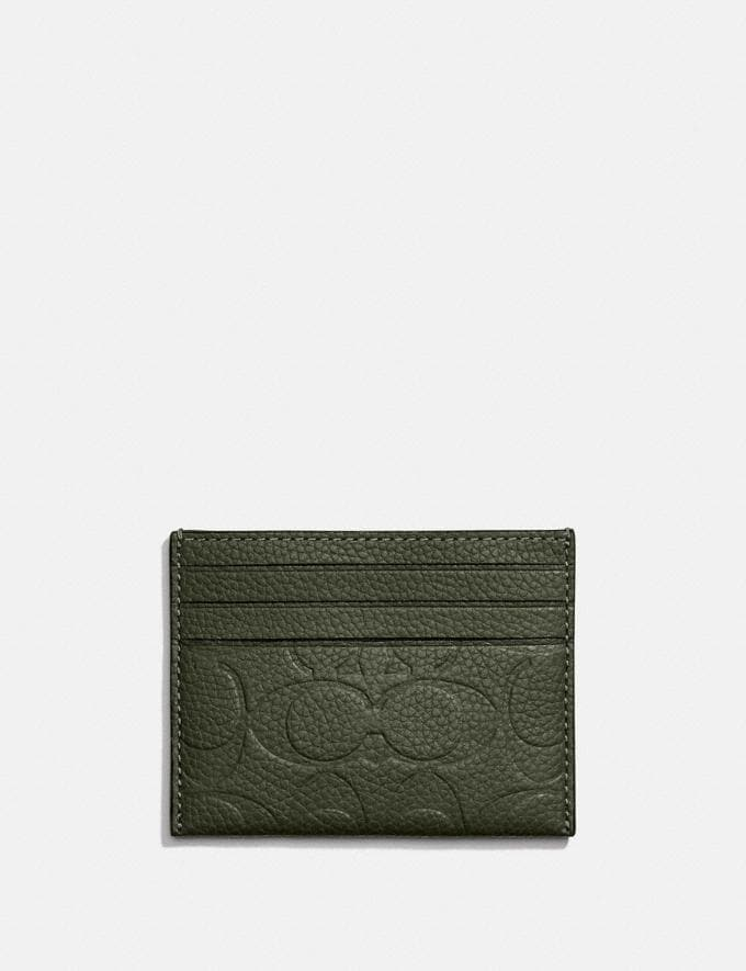 Coach Card Case in Signature Leather Dark Shamrock New Men's New Arrivals Wallets Alternate View 1