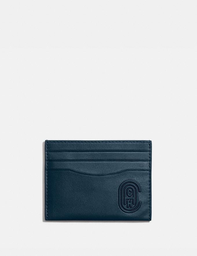 Coach Card Case With Coach Patch Sea Blue Men Wallets Card Cases