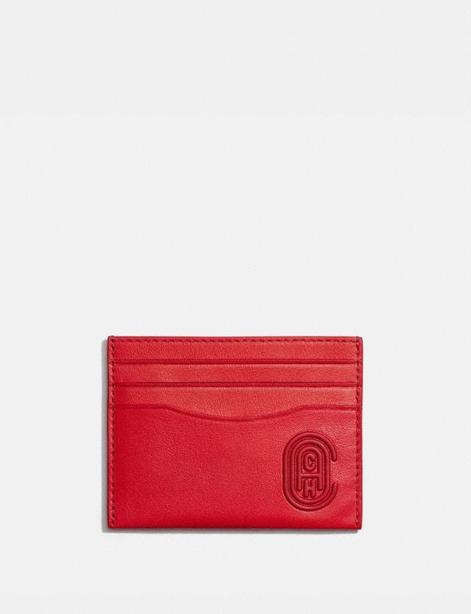 Coach Card Case With Coach Patch Electric Coral Men Wallets Card Cases