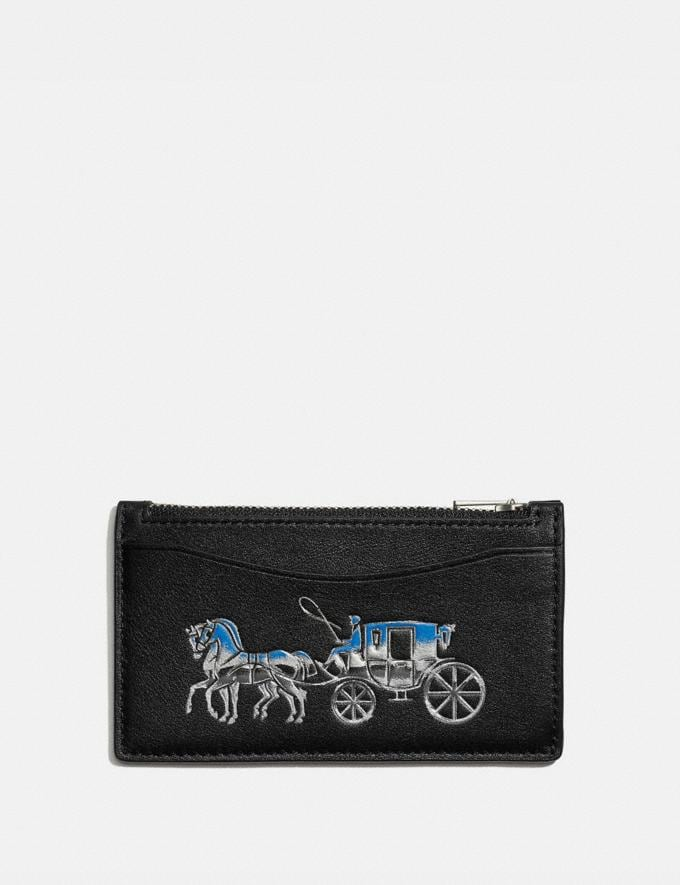 Coach Zip Card Case With Horse and Carriage Black Multi Men Wallets Card Cases