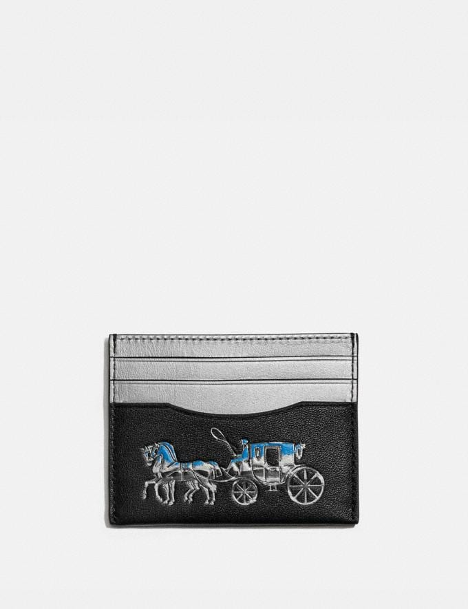 Coach Card Case With Horse and Carriage Black Multi Men Wallets Card Cases