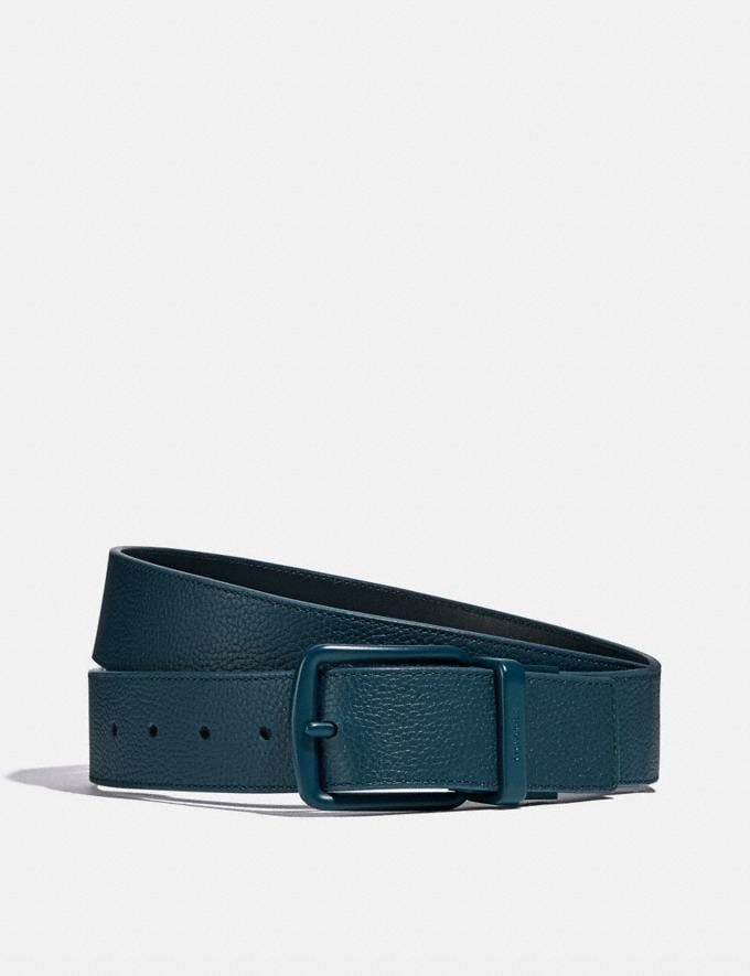 Coach Roller Buckle Cut-To-Size Reversible Belt, 38mm Sea Blue Men Accessories Belts