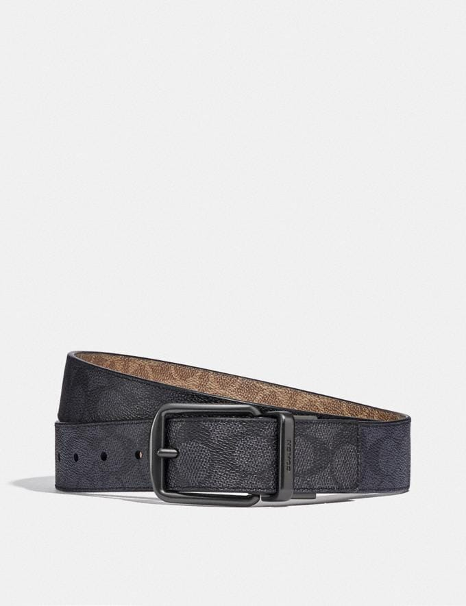 Coach Harness Buckle Cut-To-Size Reversible Belt, 38mm Charcoal/Khaki Men Accessories Belts