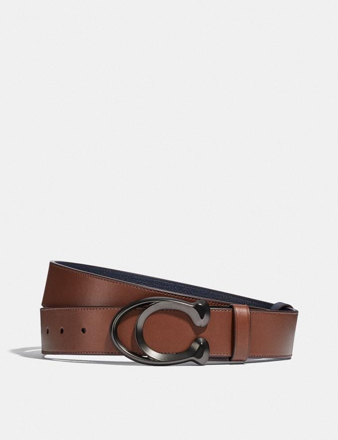 Coach Signature Buckle Cut-To-Size Reversible Belt, 38mm Dark Saddle/Midnight Men Accessories Belts