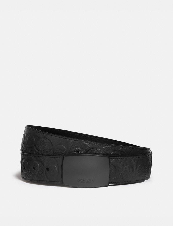 Coach Plaque Buckle Cut-To-Size Reversible Belt, 38mm Black Men Accessories Belts