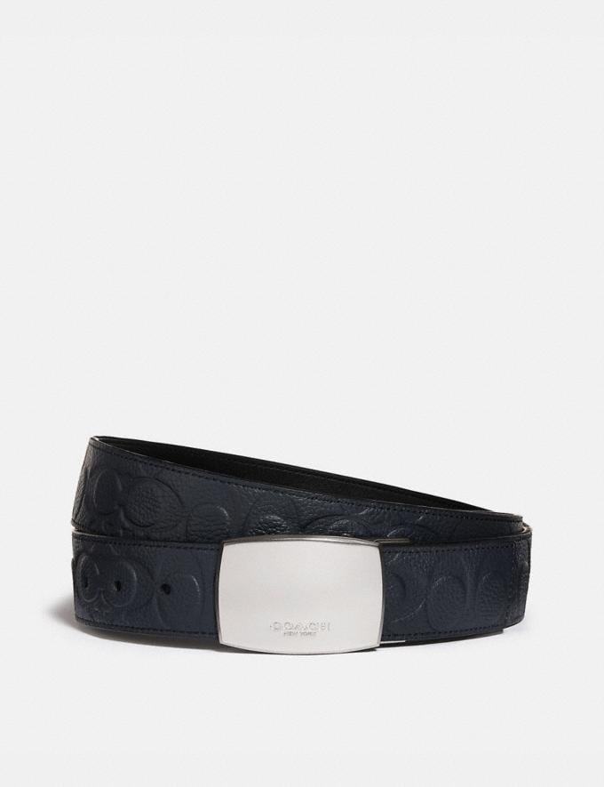 Coach Plaque Buckle Cut-To-Size Reversible Belt, 38mm Midnight Men Accessories Belts