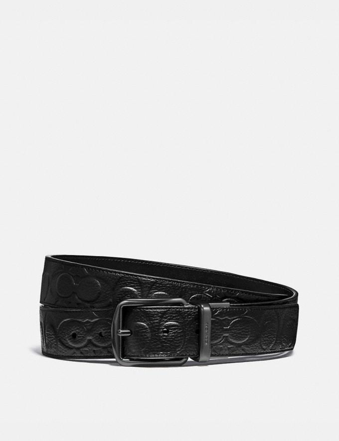 Coach Harness Buckle Cut-To-Size Reversible Belt, 38mm Black Men Accessories Belts