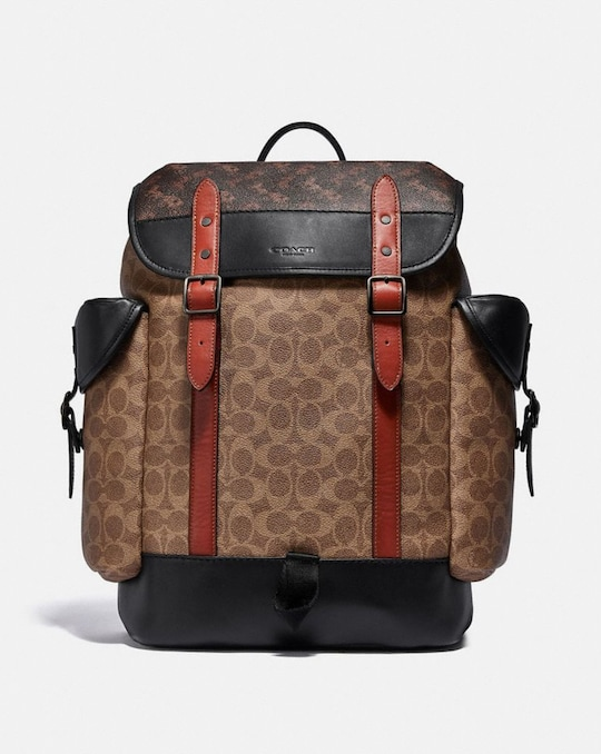 HITCH BACKPACK IN SIGNATURE CANVAS WITH HORSE AND CARRIAGE PRINT